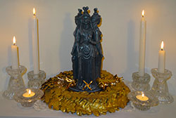 Brigid-Imbolc-Candles-Altar-Gold