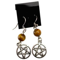 Tiger Eye Pentagram Earrings